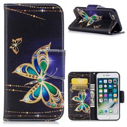 Golden Shining Butterfly Leather Wallet Case for iPhone 8 / 7 8G 7G(4.7 inch)