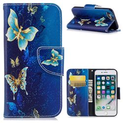 Golden Butterflies Leather Wallet Case for iPhone 8 / 7 8G 7G(4.7 inch)