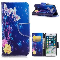 Yellow Flower Butterfly Leather Wallet Case for iPhone 8 / 7 8G 7G(4.7 inch)