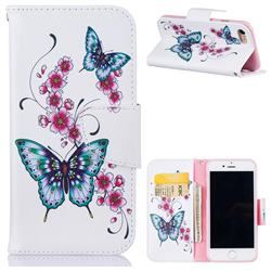 Peach Butterflies Leather Wallet Case for iPhone 8 / 7 8G 7G(4.7 inch)