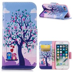 Tree and Owls Leather Wallet Case for iPhone 8 / 7 8G 7G(4.7 inch)
