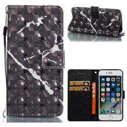 Black Marble 3D Painted Leather Wallet Case for iPhone 8 / 7 8G 7G(4.7 inch)