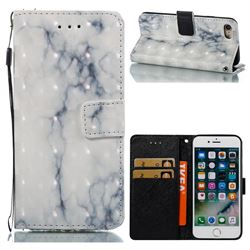 White Gray Marble 3D Painted Leather Wallet Case for iPhone 8 / 7 8G 7G(4.7 inch)