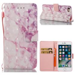Pink Marble 3D Painted Leather Wallet Case for iPhone 8 / 7 8G 7G(4.7 inch)
