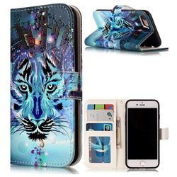 Ice Wolf 3D Relief Oil PU Leather Wallet Case for iPhone 8 / 7 8G 7G(4.7 inch)