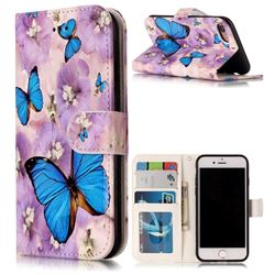 Purple Flowers Butterfly 3D Relief Oil PU Leather Wallet Case for iPhone 8 / 7 8G 7G(4.7 inch)