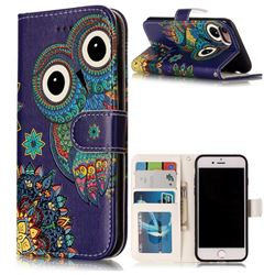 Folk Owl 3D Relief Oil PU Leather Wallet Case for iPhone 8 / 7 8G 7G(4.7 inch)