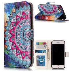 Mandala Flower 3D Relief Oil PU Leather Wallet Case for iPhone 8 / 7 8G 7G(4.7 inch)