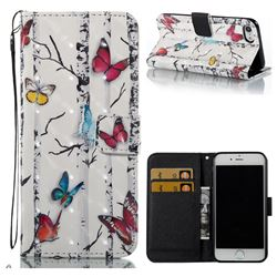 Colored Butterflies 3D Painted Leather Wallet Case for iPhone 8 / 7 8G 7G(4.7 inch)