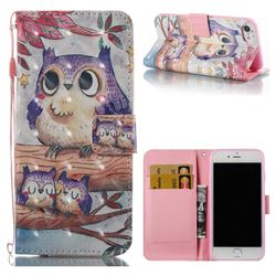 Purple Owl 3D Painted Leather Wallet Case for iPhone 8 / 7 8G 7G(4.7 inch)