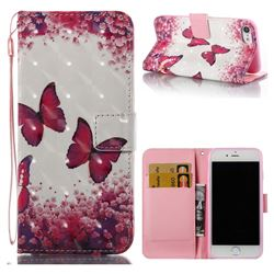 Rose Butterfly 3D Painted Leather Wallet Case for iPhone 8 / 7 8G 7G(4.7 inch)