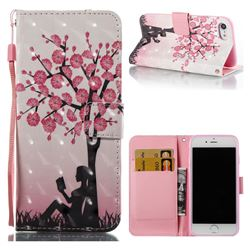 Plum Girl 3D Painted Leather Wallet Case for iPhone 8 / 7 8G 7G(4.7 inch)