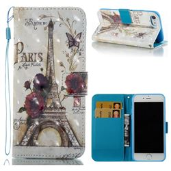 Flower Eiffel Tower 3D Painted Leather Wallet Case for iPhone 8 / 7 8G 7G(4.7 inch)