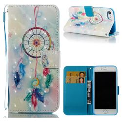 Feather Wind Chimes 3D Painted Leather Wallet Case for iPhone 8 / 7 8G 7G(4.7 inch)