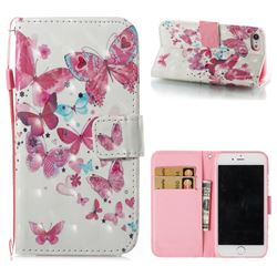 Heart Butterfly 3D Painted Leather Wallet Case for iPhone 8 / 7 (4.7 inch)