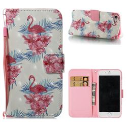 Flamingo and Azaleas 3D Painted Leather Wallet Case for iPhone 8 / 7 (4.7 inch)