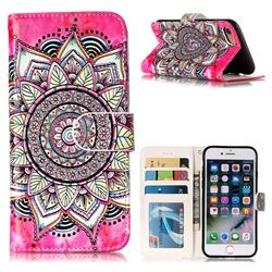 Rose Mandala 3D Relief Oil PU Leather Wallet Case for iPhone 8 / 7 (4.7 inch)