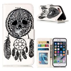 Wind Chimes Skull 3D Relief Oil PU Leather Wallet Case for iPhone 8 / 7 (4.7 inch)