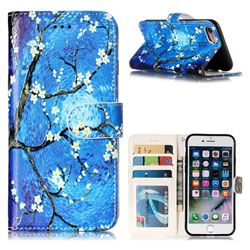 Plum Blossom 3D Relief Oil PU Leather Wallet Case for iPhone 8 / 7 (4.7 inch)