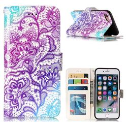 Purple Lotus 3D Relief Oil PU Leather Wallet Case for iPhone 8 / 7 (4.7 inch)