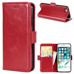 Luxury Crazy Horse PU Leather Wallet Case for iPhone 8 / 7 (4.7 inch) - Red
