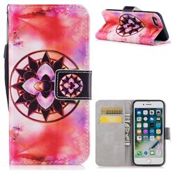 Red Mandala PU Leather Wallet Case for iPhone 8 / 7 (4.7 inch)