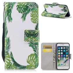 Green Leaves PU Leather Wallet Case for iPhone 8 / 7 (4.7 inch)