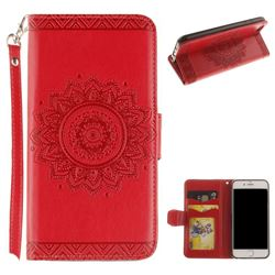 Embossed Datura Flower PU Leather Wallet Case for iPhone 8 / 7 (4.7 inch) - Red