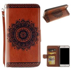 Embossed Datura Flower PU Leather Wallet Case for iPhone 8 / 7 (4.7 inch) - Brown