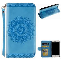 Embossed Datura Flower PU Leather Wallet Case for iPhone 8 / 7 (4.7 inch) - Blue
