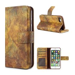Luxury Retro Forest Series Leather Wallet Case for iPhone 8 / 7 (4.7 inch) - Yellow