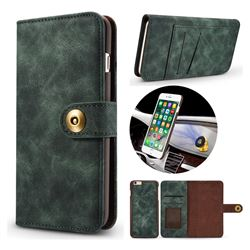 Luxury Vintage Split Separated Leather Wallet Case for iPhone 8 / 7 (4.7 inch) - Dark Green