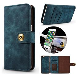 Luxury Vintage Split Separated Leather Wallet Case for iPhone 8 / 7 (4.7 inch) - Navy Blue