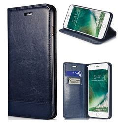 Magnetic Suck Stitching Slim Leather Wallet Case for iPhone 8 / 7 (4.7 inch) - Sapphire
