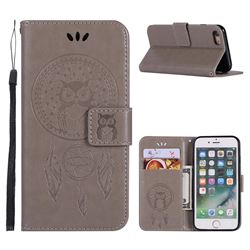 Intricate Embossing Owl Campanula Leather Wallet Case for iPhone 8 / 7 (4.7 inch) - Grey
