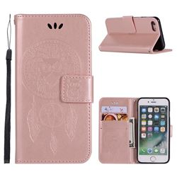 Intricate Embossing Owl Campanula Leather Wallet Case for iPhone 8 / 7 (4.7 inch) - Rose Gold