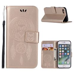 Intricate Embossing Owl Campanula Leather Wallet Case for iPhone 8 / 7 (4.7 inch) - Champagne