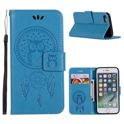 Intricate Embossing Owl Campanula Leather Wallet Case for iPhone 8 / 7 (4.7 inch) - Blue