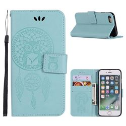 Intricate Embossing Owl Campanula Leather Wallet Case for iPhone 8 / 7 (4.7 inch) - Green