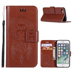 Intricate Embossing Owl Campanula Leather Wallet Case for iPhone 8 / 7 (4.7 inch) - Brown