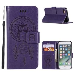 Intricate Embossing Owl Campanula Leather Wallet Case for iPhone 8 / 7 (4.7 inch) - Purple