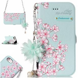 Cherry Blossoms Endeavour Florid Pearl Flower Pendant Metal Strap PU Leather Wallet Case for iPhone 8 / 7 (4.7 inch)