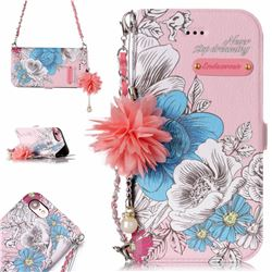 Pink Blue Rose Endeavour Florid Pearl Flower Pendant Metal Strap PU Leather Wallet Case for iPhone 8 / 7 (4.7 inch)