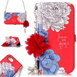 Red Chrysanthemum Endeavour Florid Pearl Flower Pendant Metal Strap PU Leather Wallet Case for iPhone 8 / 7 (4.7 inch)