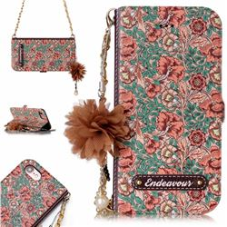 Impatiens Endeavour Florid Pearl Flower Pendant Metal Strap PU Leather Wallet Case for iPhone 8 / 7 (4.7 inch)