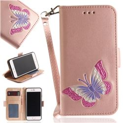 Imprint Embossing Butterfly Leather Wallet Case for iPhone 8 / 7 (4.7 inch) - Rose Gold