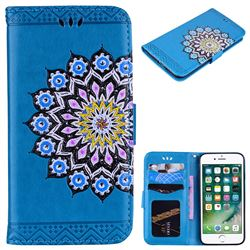 Datura Flowers Flash Powder Leather Wallet Holster Case for iPhone 8 / 7 (4.7 inch) - Blue
