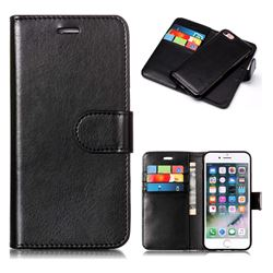 Black Detachable Smooth PU Leather Wallet Case