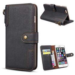 Retro Luxury Cowhide Leather Wallet Case for iPhone 8 / 7 (4.7 inch) - Black
