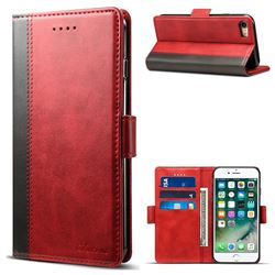 Suteni Calf Stripe Dual Color Leather Wallet Flip Case for iPhone 8 / 7 (4.7 inch) - Red